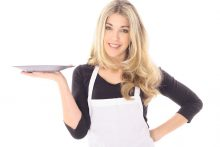 beautiful woman in apron holding your product